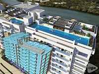 13,000m2 development consisting of 3 car park levels, 9 apartment levels and social terrace with swimming pools. Cartagena, Colombia.