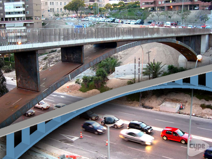 Footbridge access to shopping centre, crossing the N-320 in Alicante (Spain)