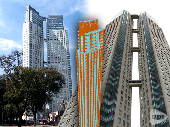 Total height 160 m and total surface area 57,190 m². Located in the Puerto Madero part of Buenos Aires (Argentina)